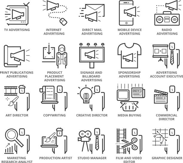 Flat thin line Icons set of Advertising Types and Career vector art illustration