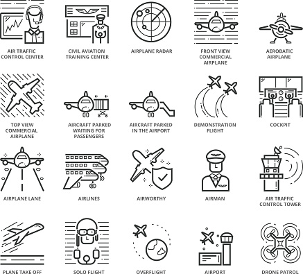 Flat thin line Icons set of Aircraft and Airport