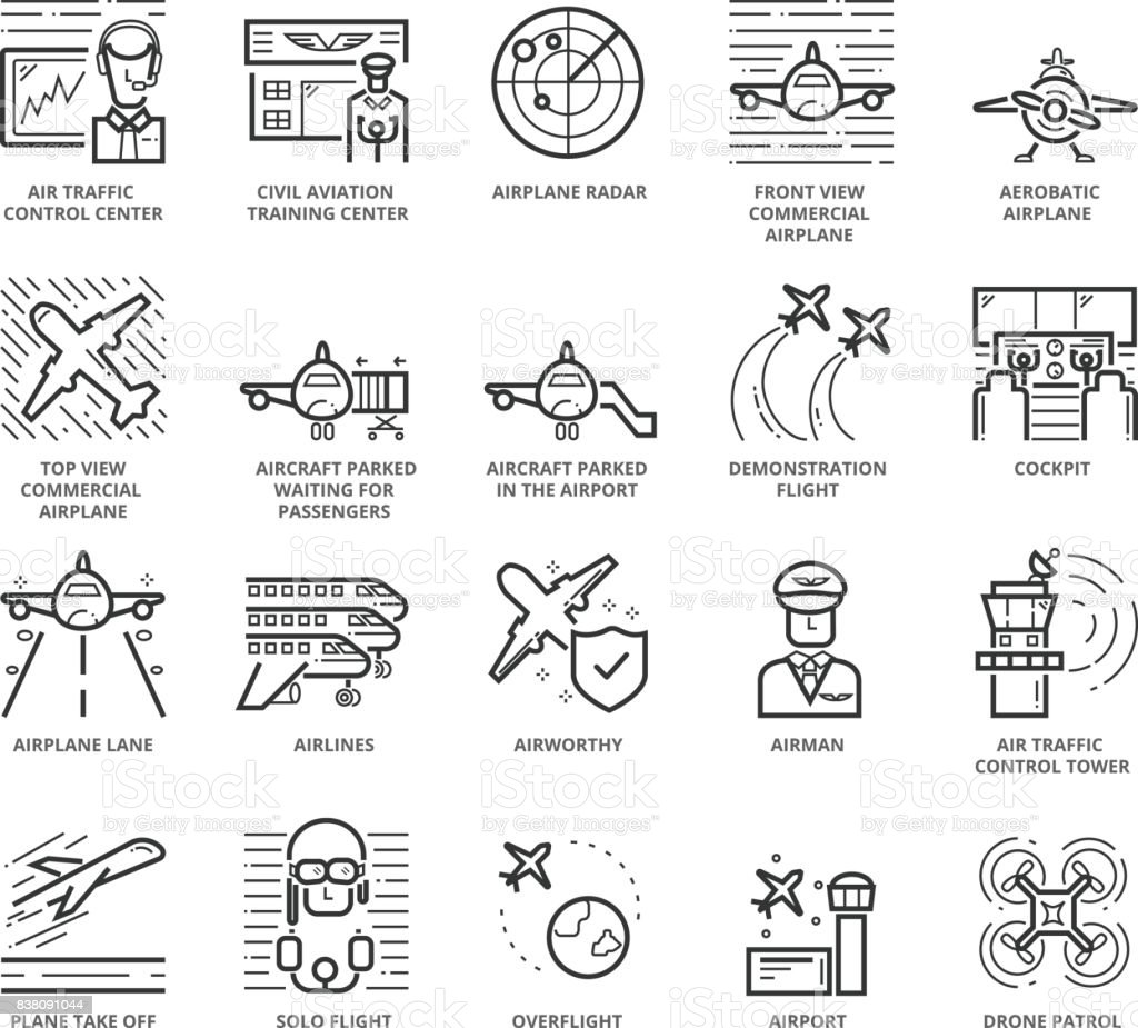 Flat thin line Icons set of Aircraft and Airport vector art illustration