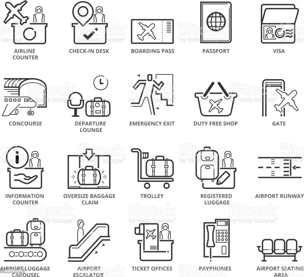 Platt tunn linje ikoner set av flygplatsområdet och objekt vektorkonstillustration