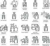 Flat thin line Icons set of Airport Staff and People