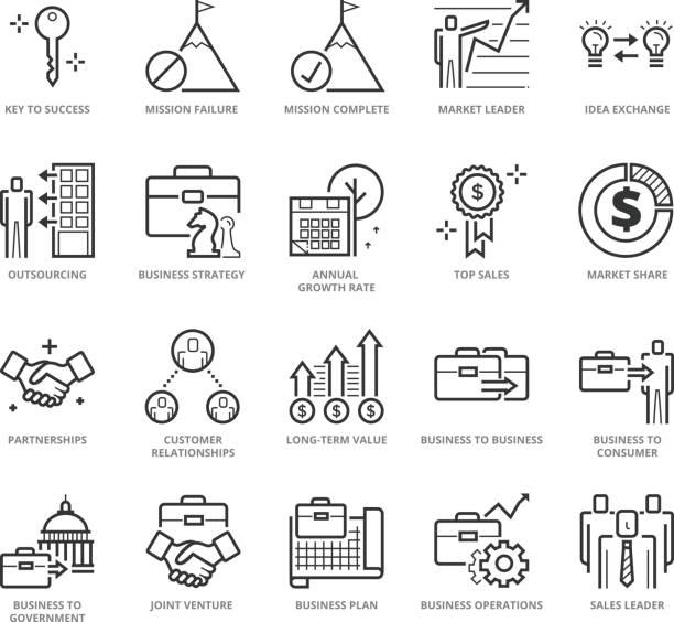 flache dünne linie icons set business development - schlüsselfertig stock-grafiken, -clipart, -cartoons und -symbole