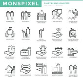 Flat thin line Icons set of Charities and Volunteer.