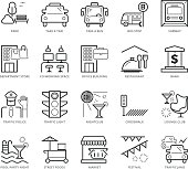 Flat thin line Icons set of City life