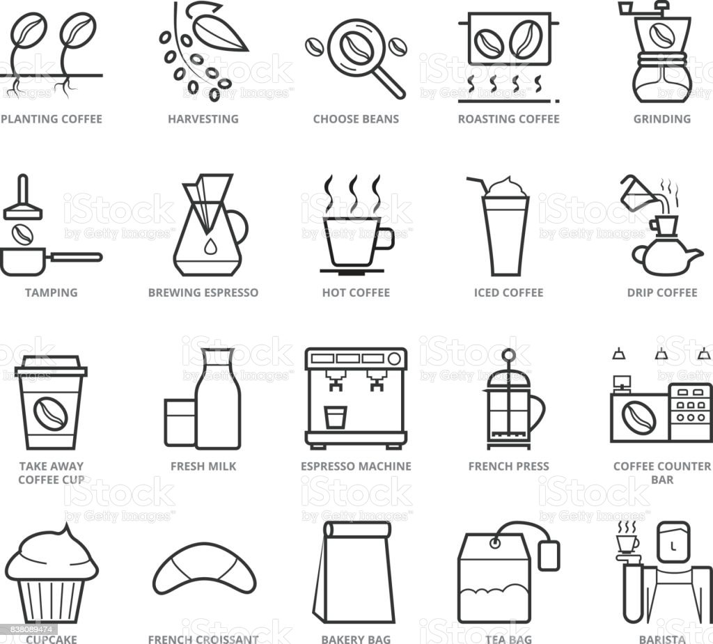 Flat thin line icons set of coffee shop stock vector art more flat thin line icons set of coffee shop royalty free flat thin line icons set malvernweather Image collections