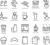 Flat thin line Icons set of Coffee Shop. Pixel Perfect Icons. Simple mono linear pictogram pack stroke vector symbol concept for web graphics.