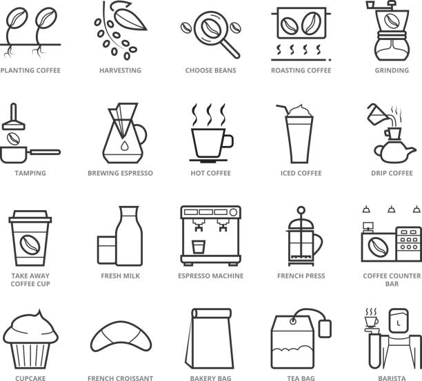 flat thin line icons set of coffee shop - barista stock illustrations, clip art, cartoons, & icons