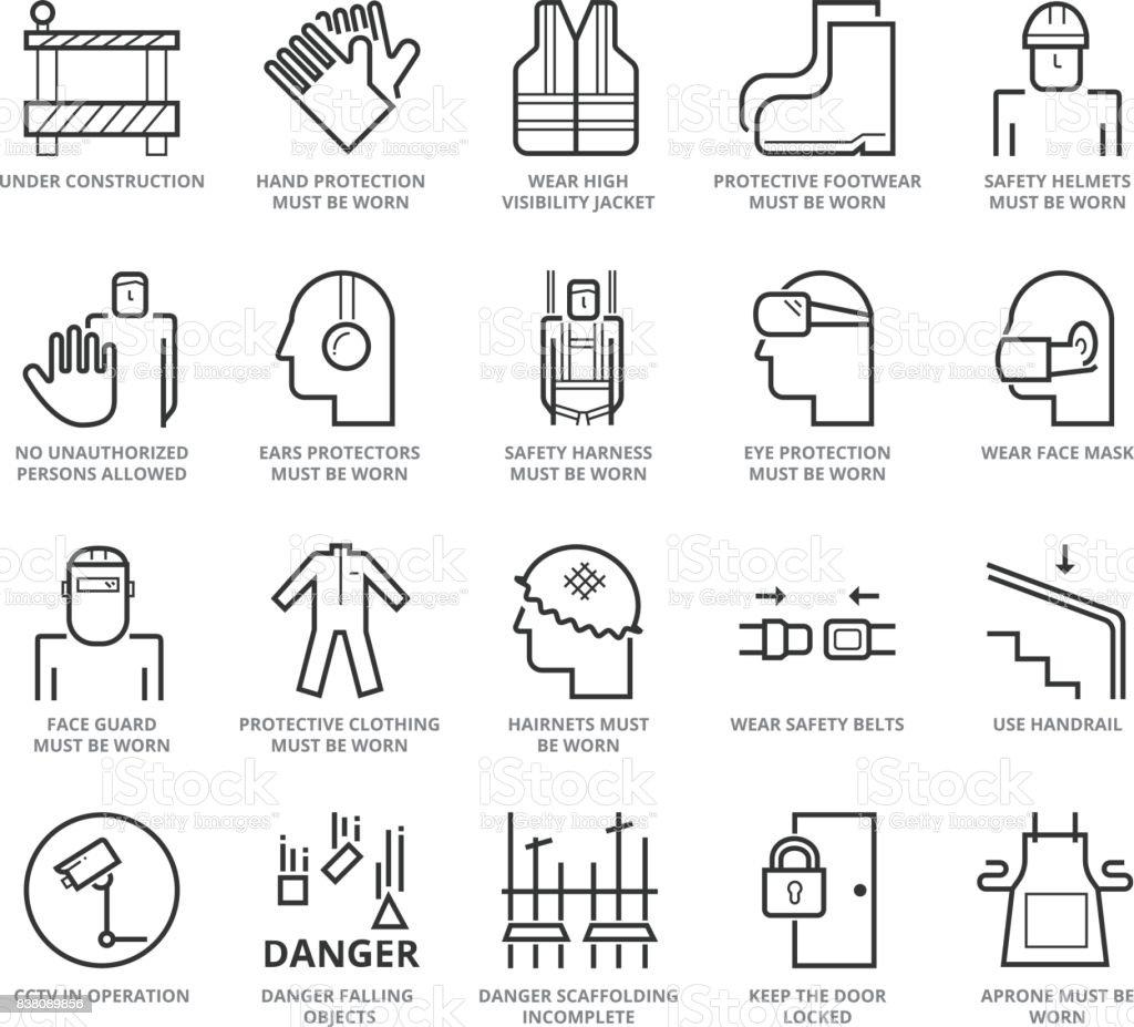 Línea plana fina set de iconos de la industria de construcción y seguridad de edificio - ilustración de arte vectorial