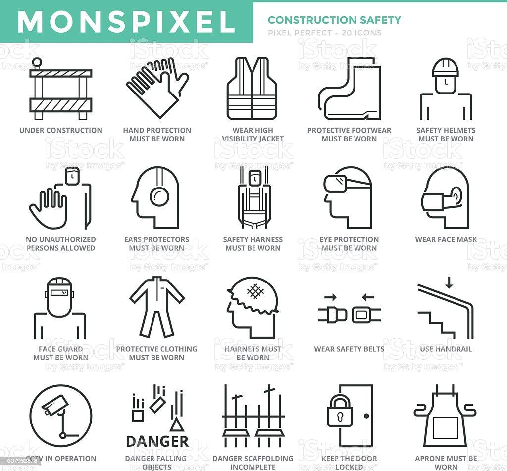 Flat thin line Icons set of Construction Safety. - ilustración de arte vectorial