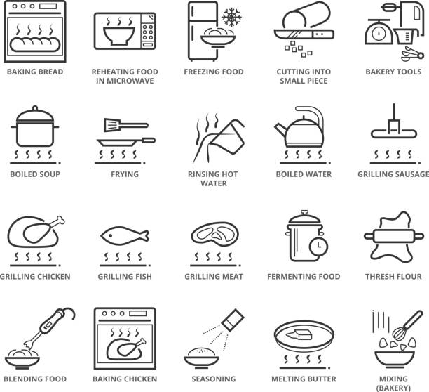 Flat thin line Icons set of Cooking and Bakery vector art illustration