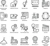 Flat thin line Icons set of Creative Idea and Services