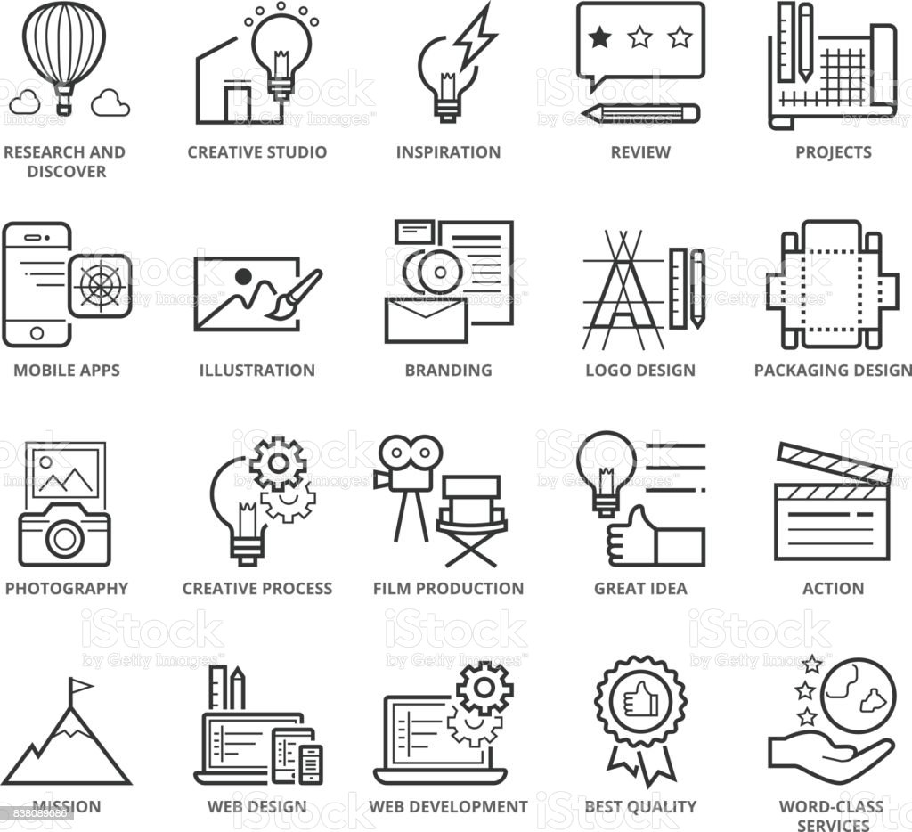 Flat thin line Icons set of Creative Idea and Services vector art illustration