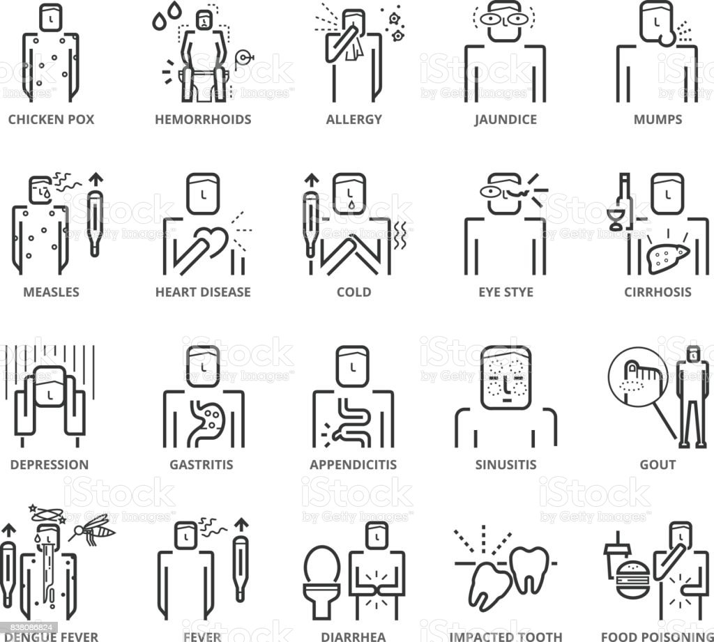 Flat thin line Icons set of Diseases and Symptom vector art illustration