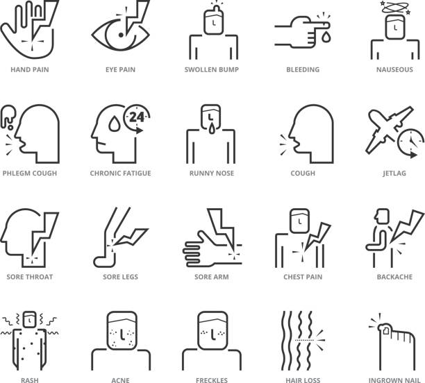Flat thin line Icons set of Diseases and Symptom Flat thin line Icons set of Diseases and Symptom. Pixel Perfect Icons. Simple mono linear pictogram pack stroke vector symbol concept for web graphics. chronic illness stock illustrations