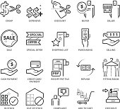 Flat thin line Icons set of E-commerce and Shopping. Pixel Perfect Icons. Simple mono linear pictogram pack stroke vector symbol concept for web graphics.