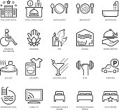 Flat thin line Icons set of Hotel Services. Pixel Perfect Icons. Simple mono linear pictogram pack stroke vector logo concept for web graphics.