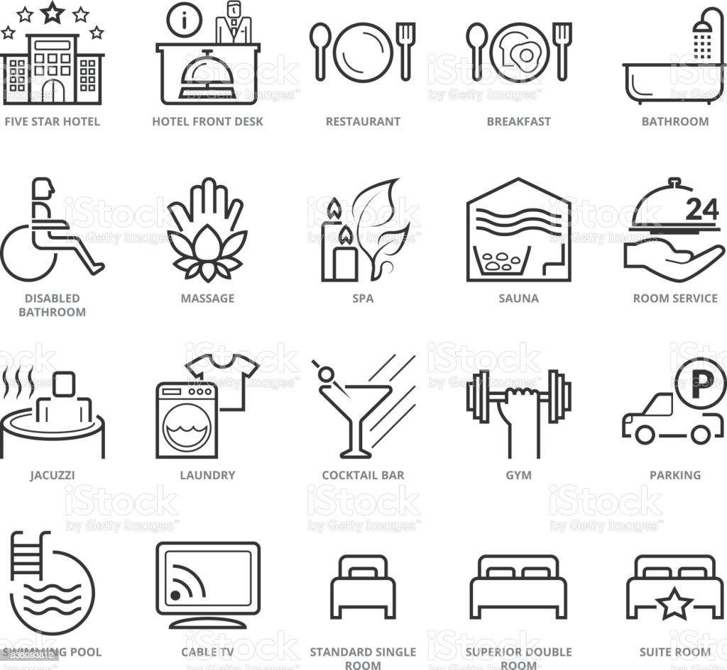 Flat thin line Icons set of Hotel Services vector art illustration