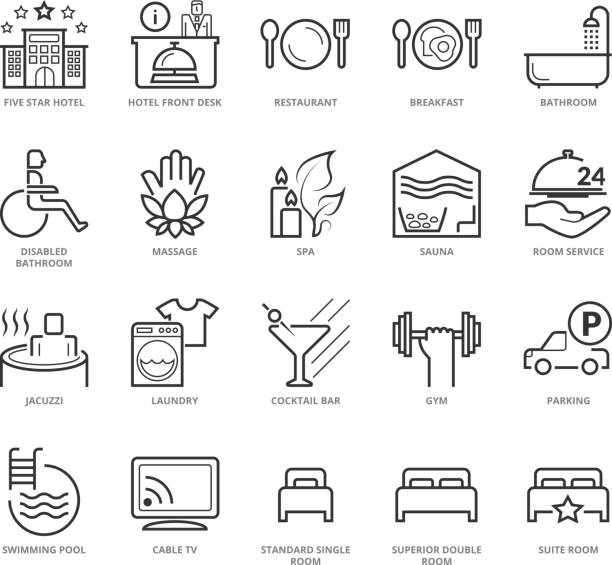 Flat thin line Icons set of Hotel Services Flat thin line Icons set of Hotel Services. Pixel Perfect Icons. Simple mono linear pictogram pack stroke vector logo concept for web graphics. luxury hotel room stock illustrations