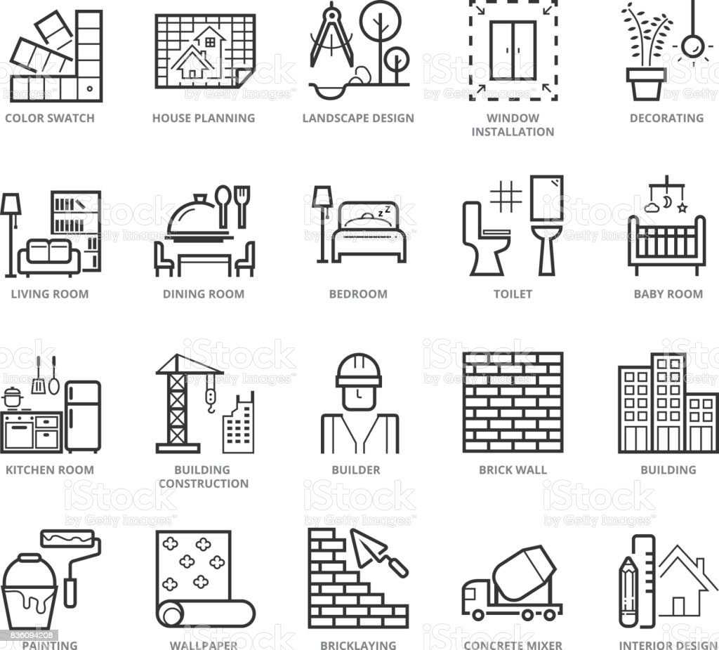 Flat thin line Icons set of Interior Design and Building vector art illustration