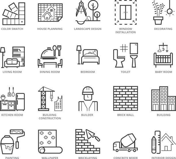 Flat thin line Icons set of Interior Design and Building Flat thin line Icons set of Interior Design and Building. Pixel Perfect Icons. Simple mono linear pictogram pack stroke vector logo concept for web graphics. interior designer stock illustrations