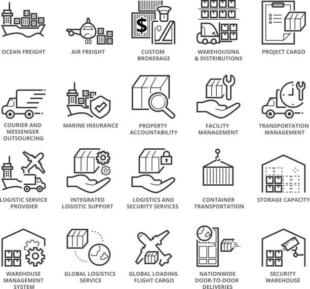 düz ince çizgi uluslararası lojistik simgeler kümesi - warehouse stock illustrations