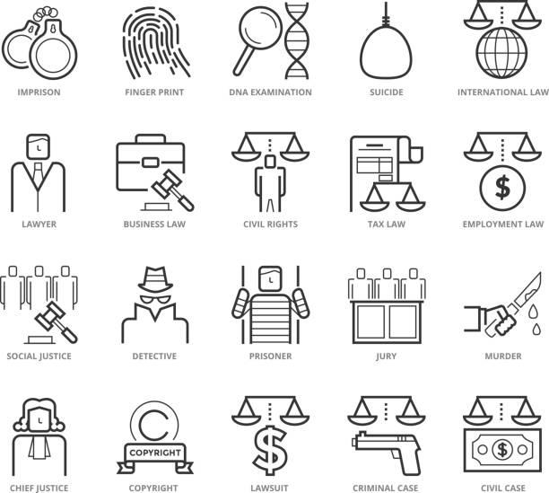 ilustraciones, imágenes clip art, dibujos animados e iconos de stock de línea plana delgada conjunto de iconos de ley y la justicia penal - civil rights