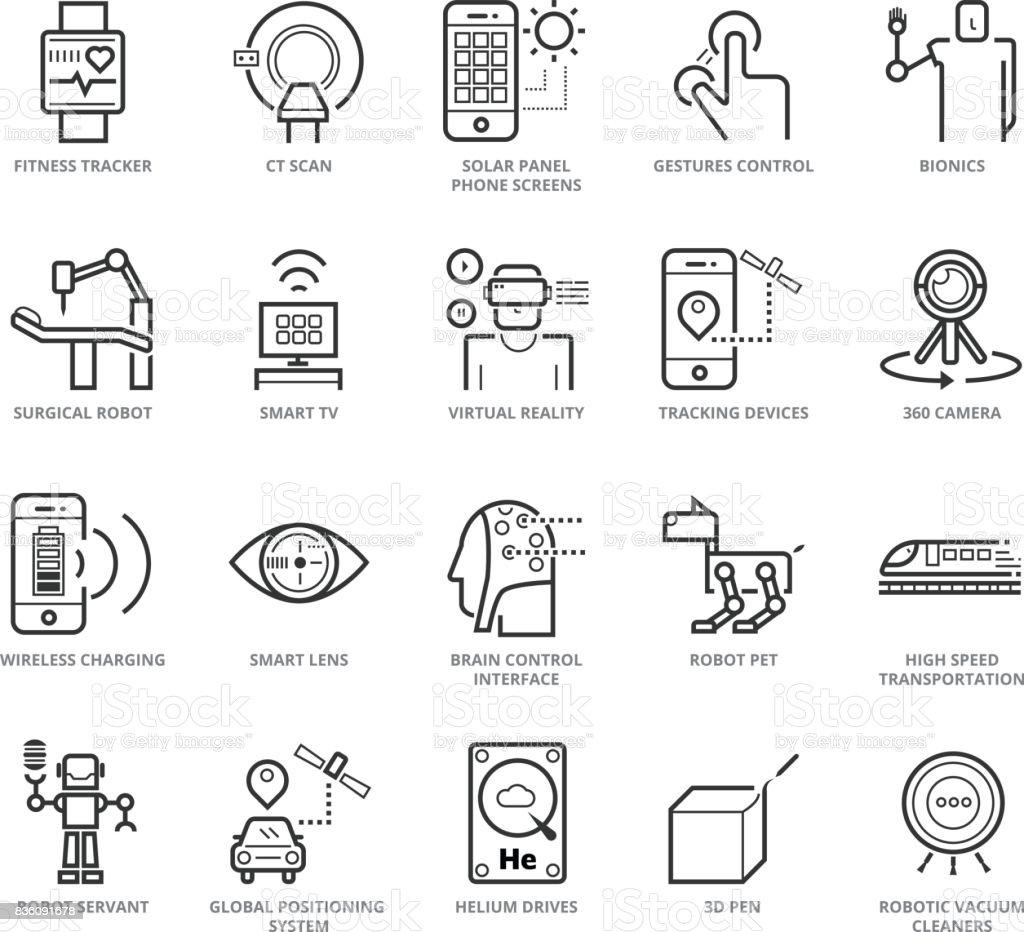 Flat thin line Icons set of Modern Technology vector art illustration
