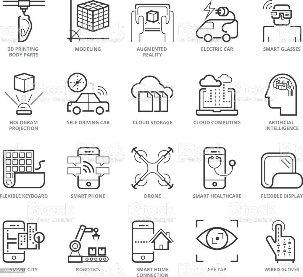 Flat thin line Icons set of Modern
