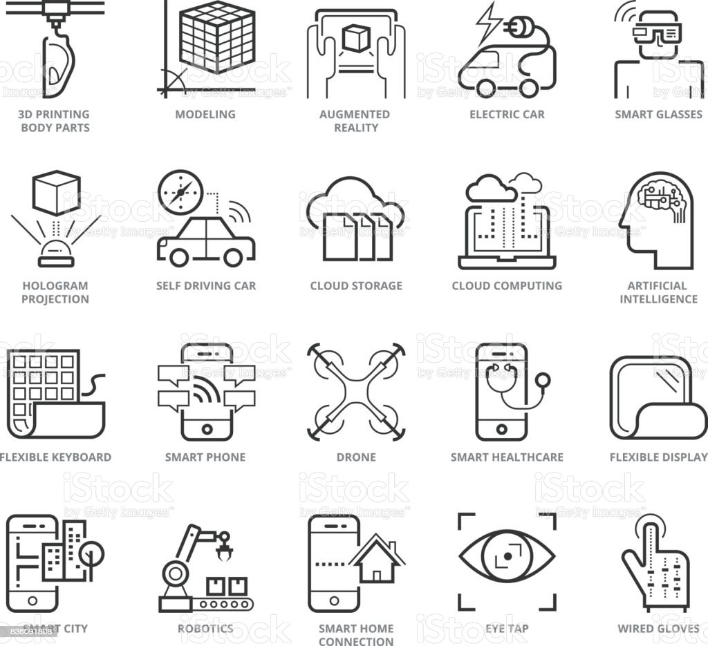 Flat thin line Icons set of Modern vector art illustration