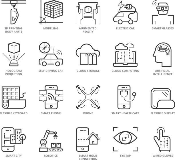 Plat mince ligne Icons set of Modern - Illustration vectorielle