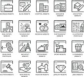 Flat thin line Icons set of Types Of Websites