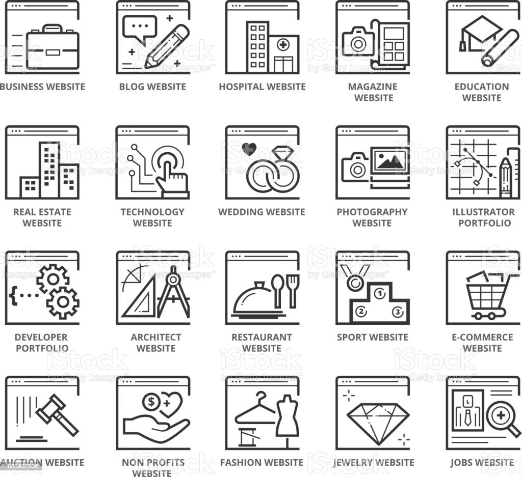 Flat thin line Icons set of Types Of Websites vector art illustration
