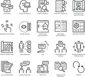 Flat thin line Icons set of UX Design And Web Development. Pixel Perfect Icons. Simple mono linear pictogram pack stroke vector logo concept for web graphics.