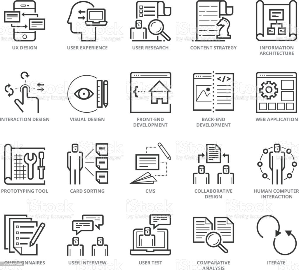 Flat thin line Icons set of UX Design And Web Development vector art illustration