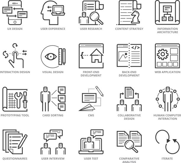 flat thin line icons set of ux design and web development - architecture icons stock illustrations