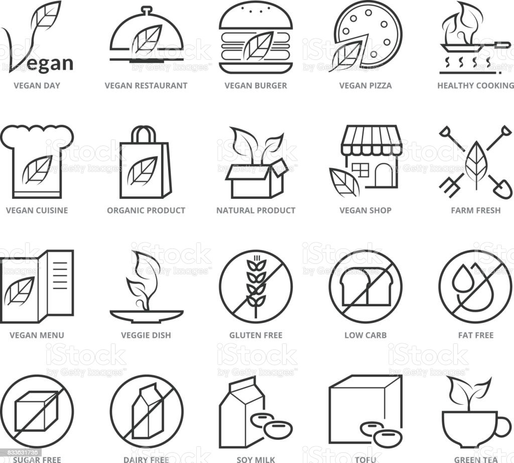 Flat thin line Icons set of Vegan and Healthy Food vector art illustration