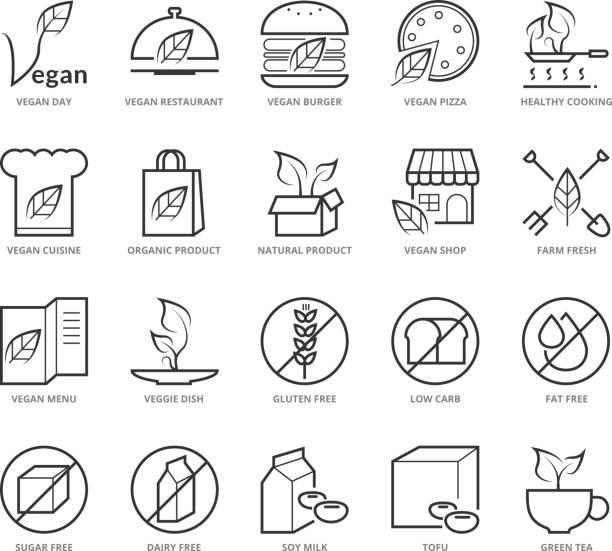 ilustraciones, imágenes clip art, dibujos animados e iconos de stock de línea plana delgada conjunto de iconos de vegano y comida sana - sin gluten