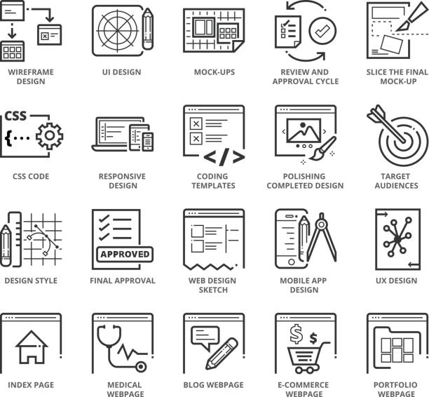 Flat thin line Icons set of Web Design and Websites vector art illustration