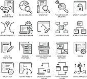 Flat thin line Icons set of Web Development