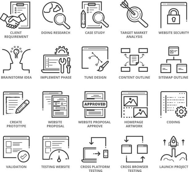 flat thin line icons set of web development - strona startowa stock illustrations