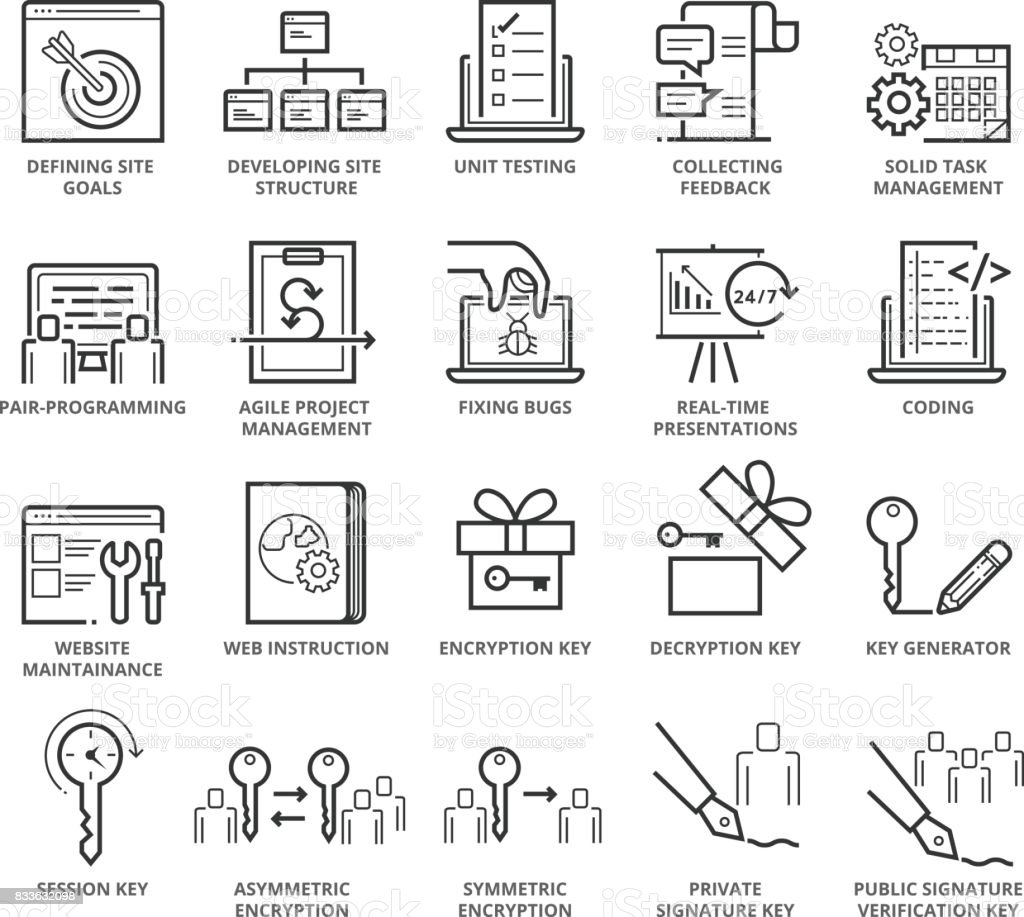 Flat thin line Icons set of Web Programming and Security vector art illustration