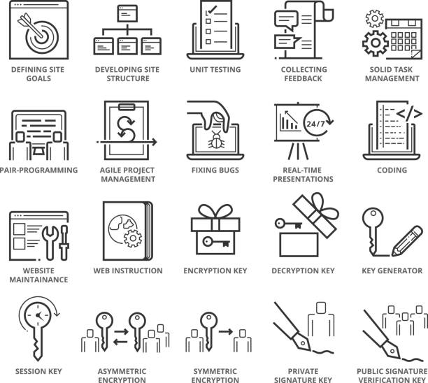 Flat thin line Icons set of Web Programming and Security Flat thin line Icons set of Web Programming and Security. Pixel Perfect Icons. Simple mono linear pictogram pack stroke vector logo concept for web graphics. test drive stock illustrations