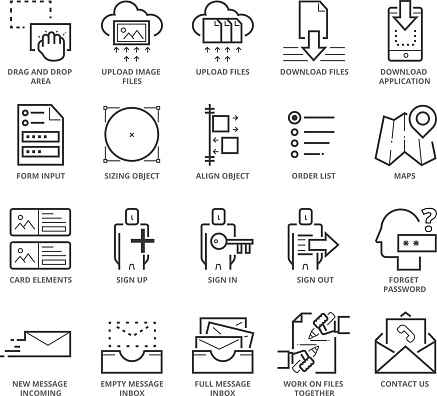 Flat thin line Icons set of Website and Mobile Application UI