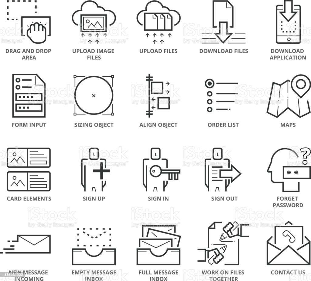 Flat thin line Icons set of Website and Mobile Application UI vector art illustration