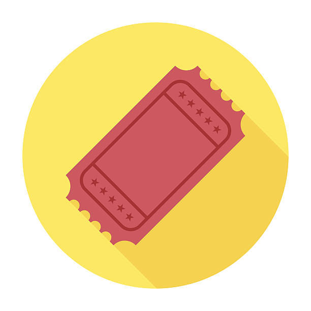 Flat Ticket Icon Flat & Long Shadow Ticket Icon movie ticket stock illustrations