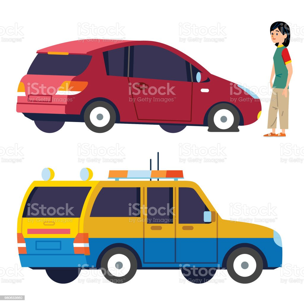 Flat tire and Breakdown Service vector art illustration