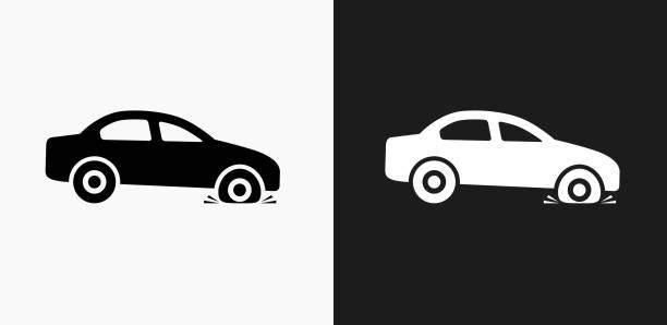 bildbanksillustrationer, clip art samt tecknat material och ikoner med punktering ikonen på svart och vit vektor bakgrunder - wheel black background