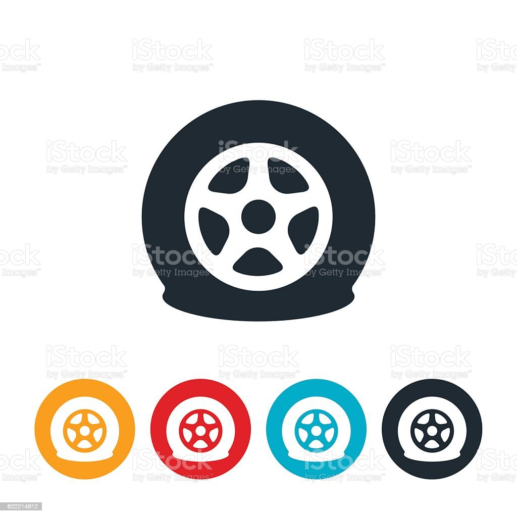 flat tire icon stock vector art more images of damaged 622214912