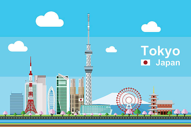 Flat Tokyo Cityscape Simple flat-style illustration of Tokyo city in Japan and its landmarks. Famous buildings included such as Tokyo Tower, Sensoji temple, Daikanransha ferris wheel, and cities notable tall buildings. tokyo stock illustrations