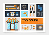 Flat tools shop infographic concept with construction repair equipment and accessories isolated vector illustration